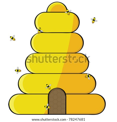 Cartoon vector illustration showing bees flying towards the opening of a beehive