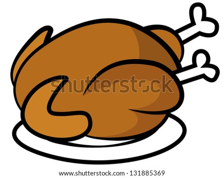 Cartoon vector illustration sign of fried turkey or chicken on plate