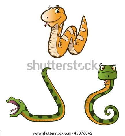 cartoon vector illustration snakes pythons