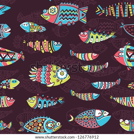 Cartoon vector illustration with funny fishes. Decorative background