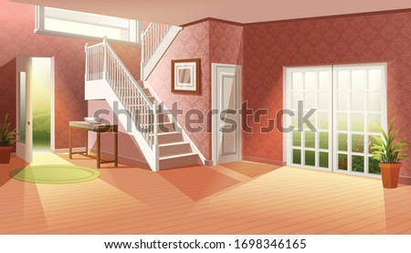 Cartoon vector illustration without furniture. Big empty living room with big windows going to the garden and entrance with big stairs. Сток-фото ©