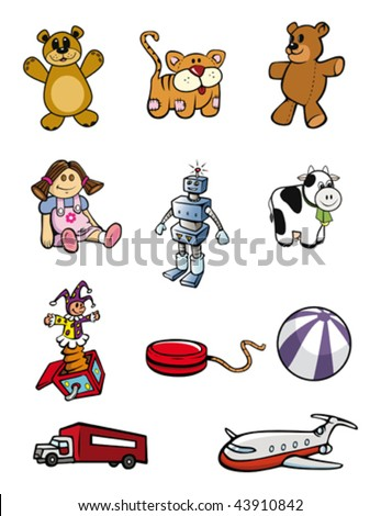 cartoon vector illustrations children toys