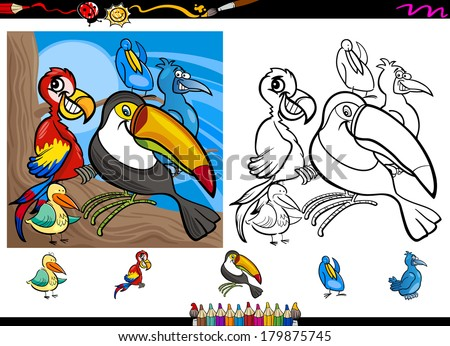 Cartoon Vector Illustrations of Funny Colorful Birds Characters Group for Coloring Book with Elements Set