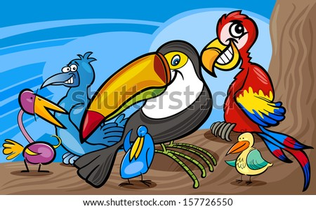 Cartoon Vector Illustrations of Funny Exotic Birds Mascot Characters Group for Children