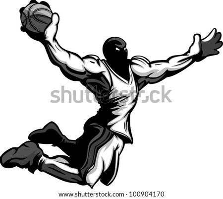 Cartoon Vector Image of a Basketball Player Slam Dunking Basketball