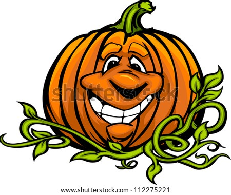 Cartoon Vector Image of a Happy Halloween Pumpkin Jack O Lantern Head and Vines with Smiling Expression