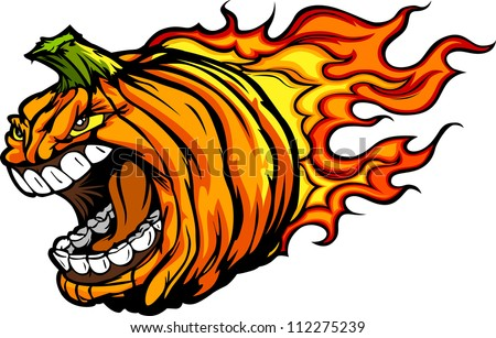 Cartoon Vector Image of a Scary Flaming Halloween Pumpkin Jack O Lantern Head with Screaming Expression - stock vector