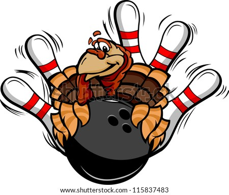 Cartoon Vector Image of a Thanksgiving Holiday Bowling Turkey Holding a Bowling Ball Surrounded by Bowling Pins