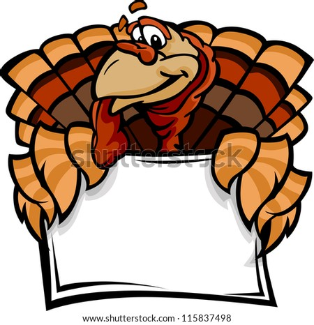Cartoon Vector Image of a Thanksgiving Holiday Turkey Holding a Sign