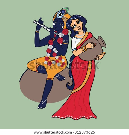 cartoon vector lord krishna and