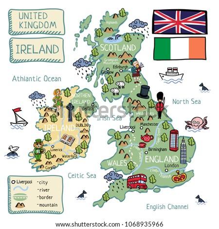 cartoon vector map of united
