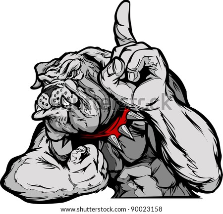 Cartoon Vector Mascot Image of a Bulldog Flexing Arms and Holding up Champion Finger - stock vector