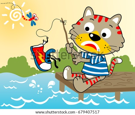 cartoon vector of a cat in blue
