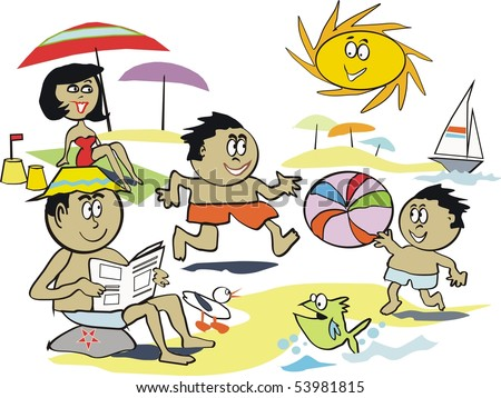 Cartoon vector of afro American family at beach.