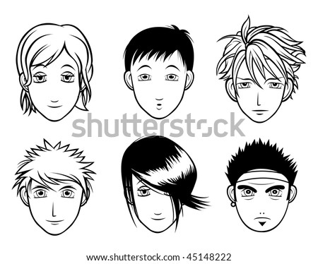 Anime, blue eyes, long brown hair, tween, girl - polyvore stock vector