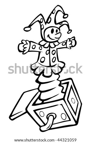 cartoon vector outline illustration Jack in the box