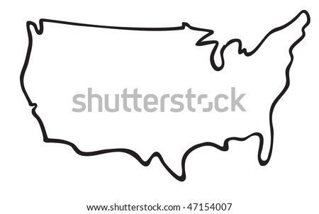 Free Vector USA Outline Map Download Free Vector Art Stock - Us map cartoon