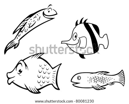 cartoon vector outline illustration of a fish collection
