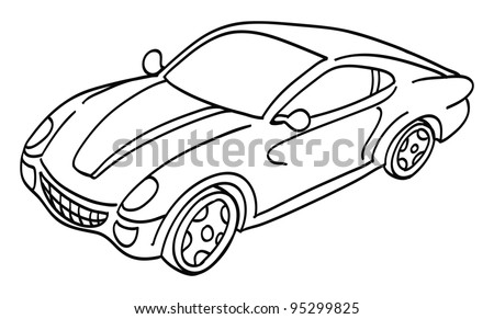 cartoon vector outline illustration of a sports car