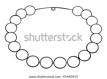 cartoon vector outline illustration pearl necklace