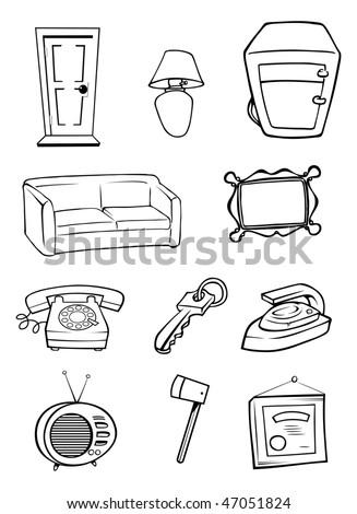 Cartoon Vector Outline Illustration Random Household ...