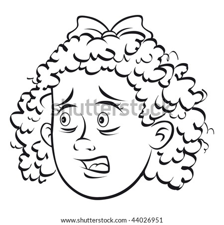 cartoon vector outline illustration scared girl