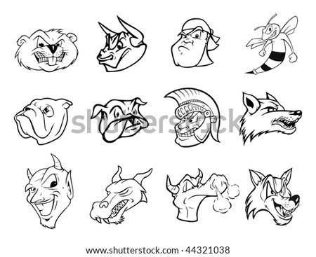 cartoon vector outline illustration sports icons - stock vector