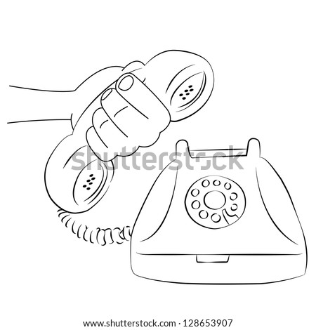 cartoon vector outline illustration telephone ringing old-fashioned with receiver, isolated