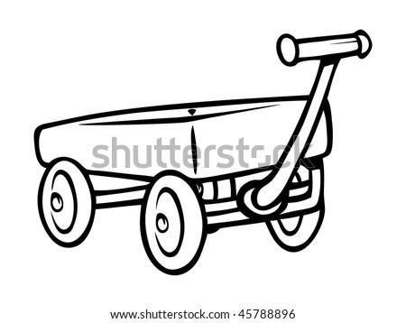 cartoon vector outline illustration toy wagon