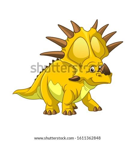 Cartoon Vector Prehistoric Dinosaur Styracosaurus stock photo