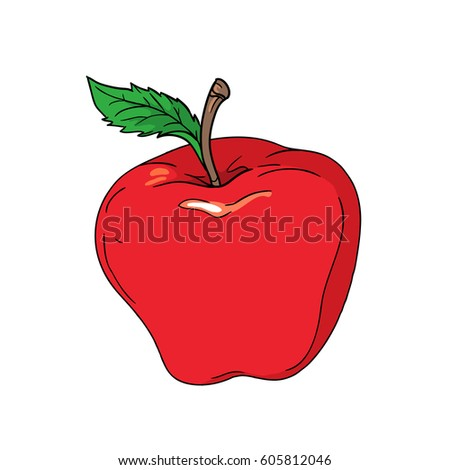 cartoon vector red apple