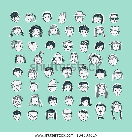 Cartoon vector set. 53 different funny faces.