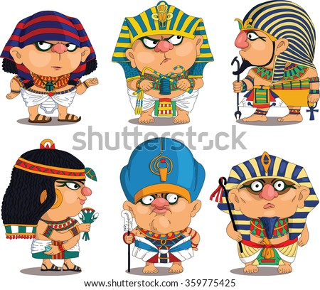 Cartoon. Vector.  Set Funny Egyptian Pharaohs. Travesty cartoon. Characters.  Isolated objects.
