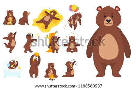 Cartoon vector set of brown grizzly bear, isolated on white background. Teddy in different pose and activities, sitting, dancing and lying.