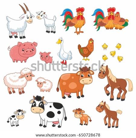 Cartoon vector set with farm animals. Vector illustration for kids