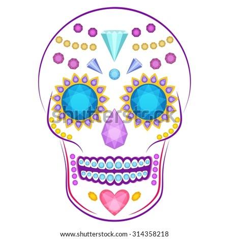 cartoon vector skull decorated