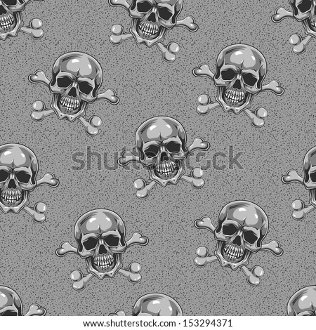 Cartoon Vector Skull. Seamlees background. Hand drawn. Eps8