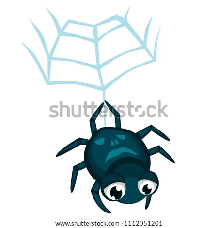 Cartoon vector spider spider hanging from web