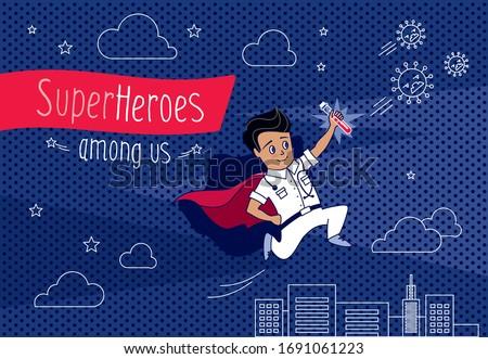 cartoon vector superhero doctor