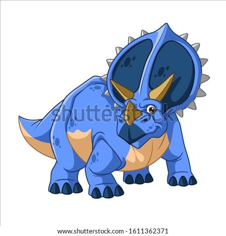 Cartoon Vector Three Horn Dinosaur Triceratops stock photo