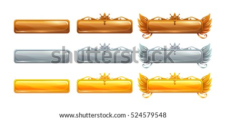 Cartoon vector title banners set for epic game design. Bronze, silver and golden ranking frames. Isolated on white.