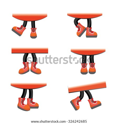 cartoon vector walking feet in
