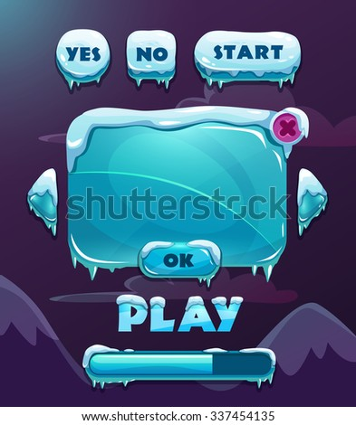 Cartoon vector winter game user interface