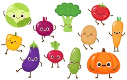 Cartoon vegetable characters collection. Cute cabbage, cucumber, carrot, broccoli, tomato, pepper for kids Vector food illustration