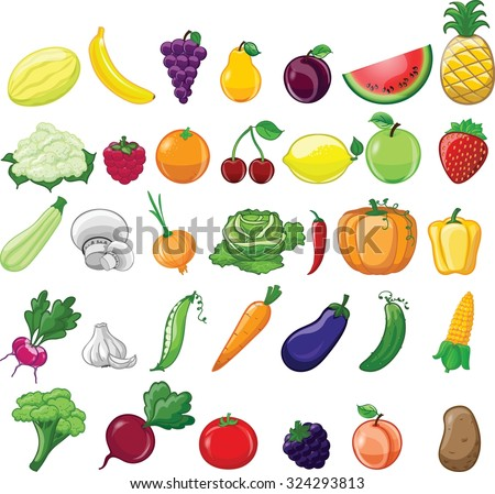 Cartoon vegetables and fruits  #324293813