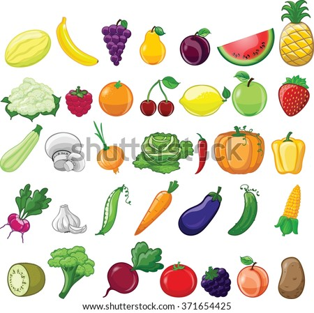 Cartoon vegetables and fruits  #371654425