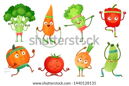 Cartoon vegetables fitness. Vegetable characters workout, healthy yoga exercises food and sport vegetables. Yoga poses, kawaii sport vegetable. Isolated vector illustration icons set