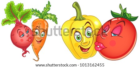 Cartoon Vegetables in Love. Lovely kiss. Emoticons. Smiley. Emoji. Design element for Valentines Day greeting card, kids coloring book, colouring page, t-shirt print, icon, logo, label, patch, sticker