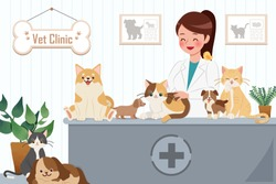 cartoon veterinarian and many pets are happy in the vet clinic
