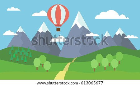 Stock Photo Cartoon view on the way to mountain landscape with a red hot air balloon flying in the hills with trees and snow on the peaks under a blue sky with clouds - vector